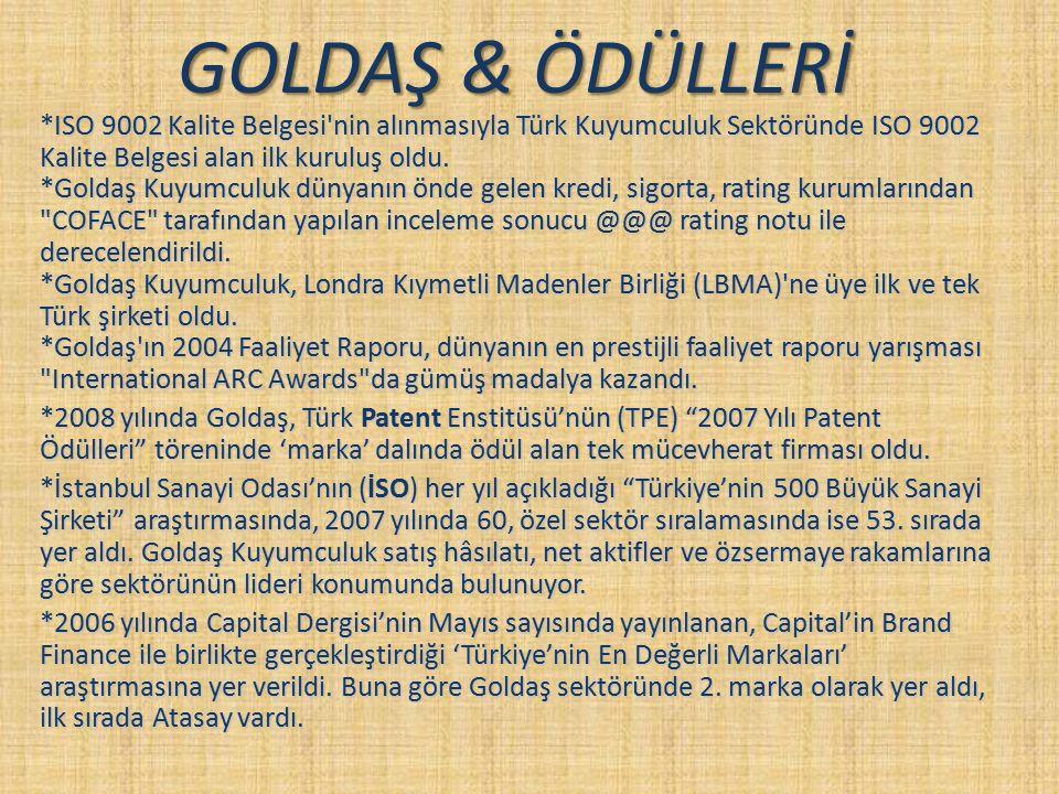 GOLDAŞ & ÖDÜLLERİ *ISO 9002 Kalite Belgesi'nin alınmasıyla Türk Kuyumculuk Sektöründe ISO 9002 Kalite Belgesi alan ilk kuruluş oldu. *Goldaş Kuyumculu