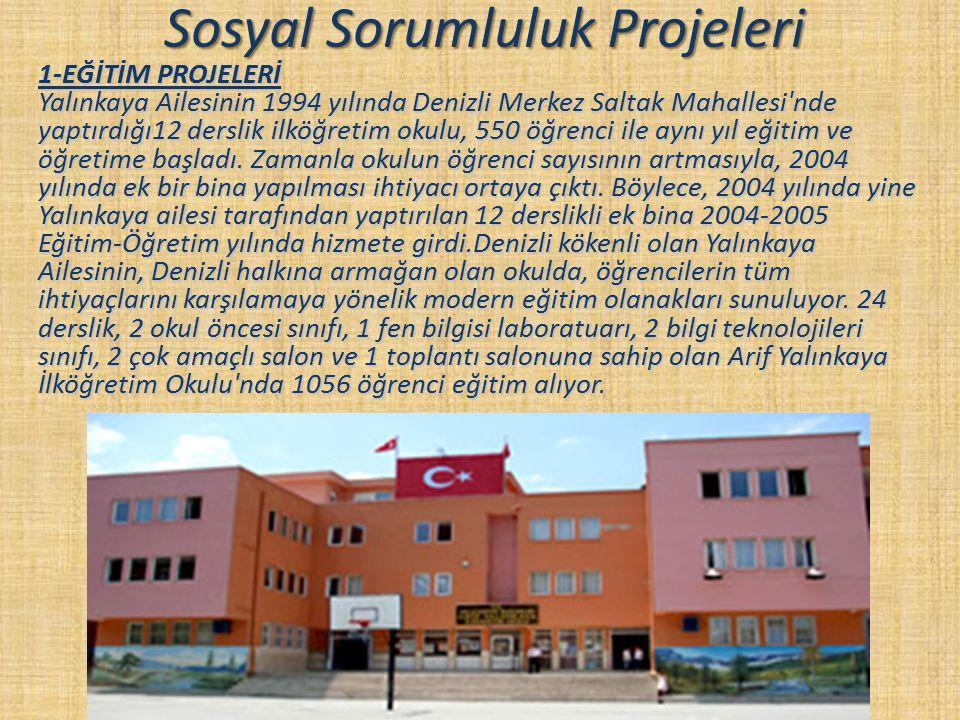 Sosyal Sorumluluk Projeleri 1-EĞİTİM PROJELERİ Yalınkaya Ailesinin 1994 yılında Denizli Merkez Saltak Mahallesi'nde yaptırdığı12 derslik ilköğretim ok