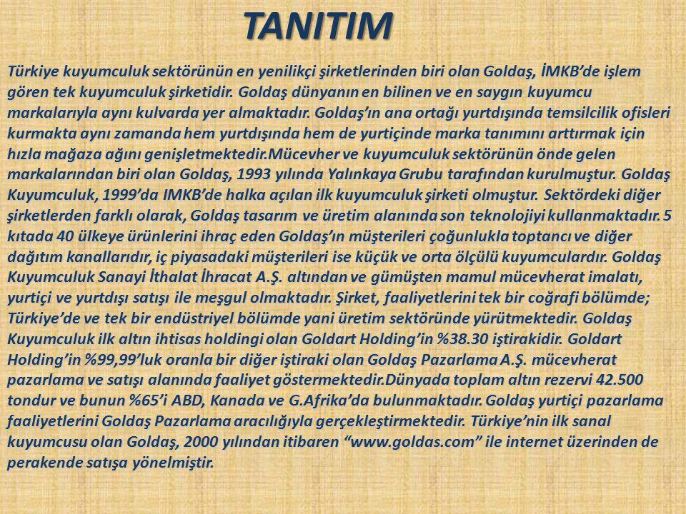 TANITIM Türkiye kuyumculuk sektörünün en yenilikçi şirketlerinden biri olan Goldaş, İMKB'de işlem gören tek kuyumculuk şirketidir. Goldaş dünyanın en