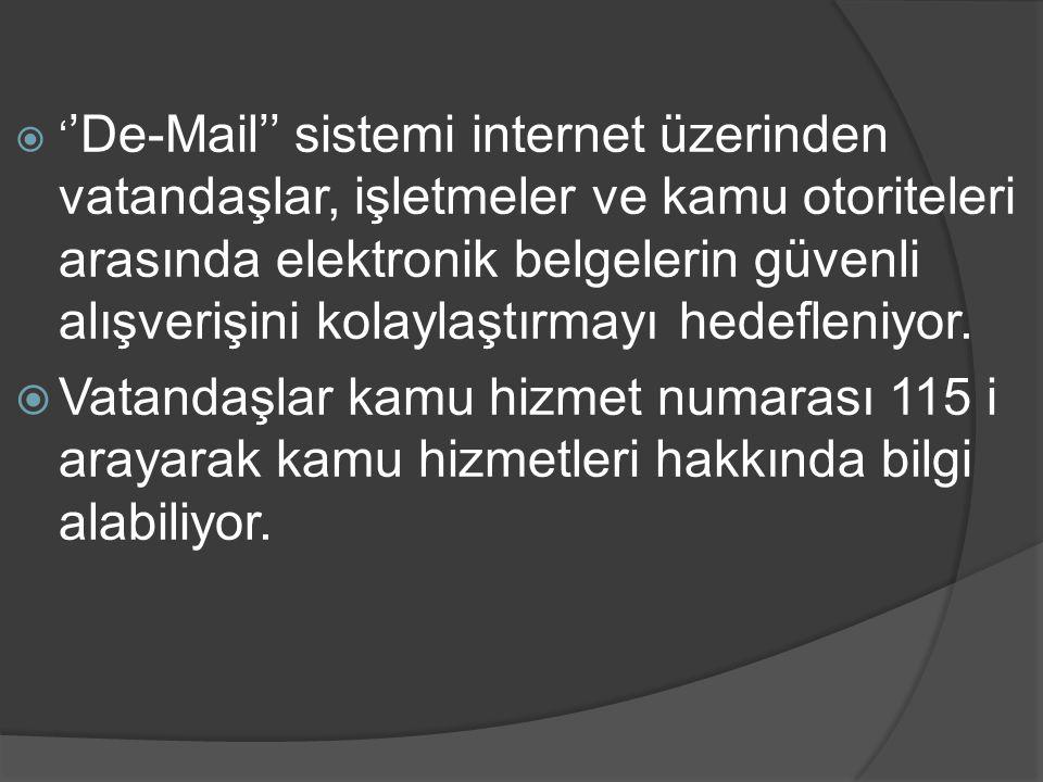  ' 'De-Mail'' sistemi internet üzerinden vatandaşlar, işletmeler ve kamu otoriteleri arasında elektronik belgelerin güvenli alışverişini kolaylaştırm