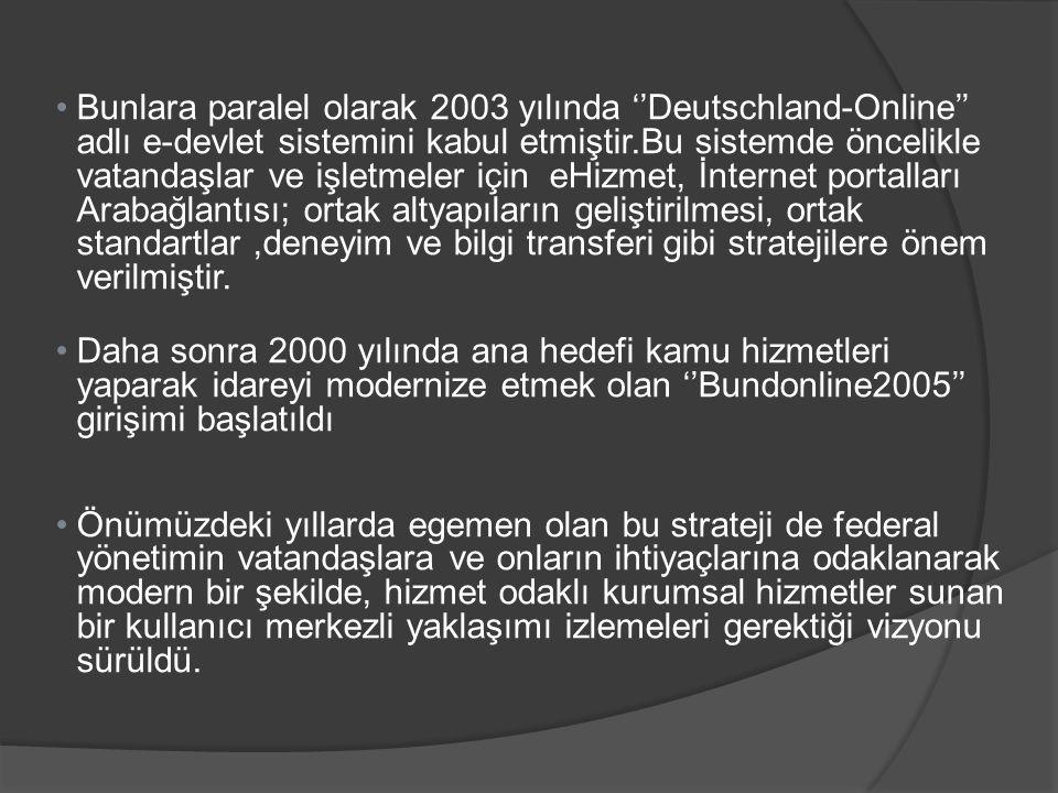 Bunlara paralel olarak 2003 yılında ''Deutschland-Online'' adlı e-devlet sistemini kabul etmiştir.Bu sistemde öncelikle vatandaşlar ve işletmeler için