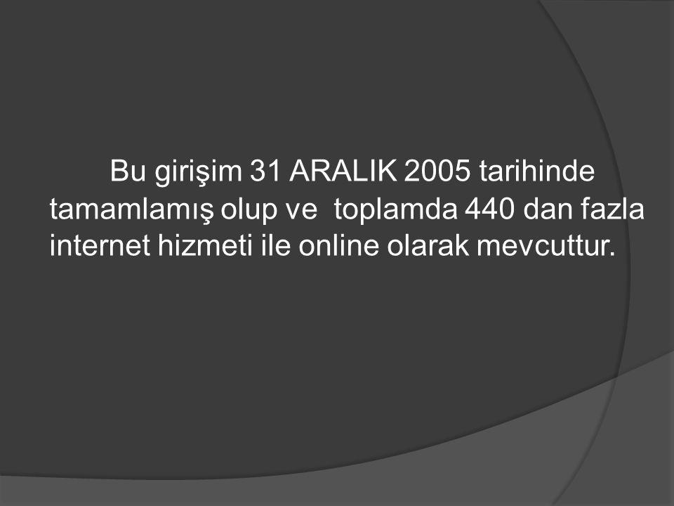 Bu girişim 31 ARALIK 2005 tarihinde tamamlamış olup ve toplamda 440 dan fazla internet hizmeti ile online olarak mevcuttur.