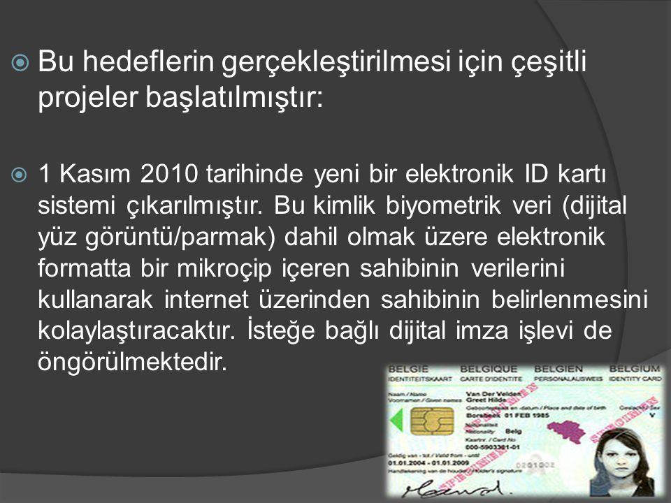  Bu hedeflerin gerçekleştirilmesi için çeşitli projeler başlatılmıştır:  1 Kasım 2010 tarihinde yeni bir elektronik ID kartı sistemi çıkarılmıştır.