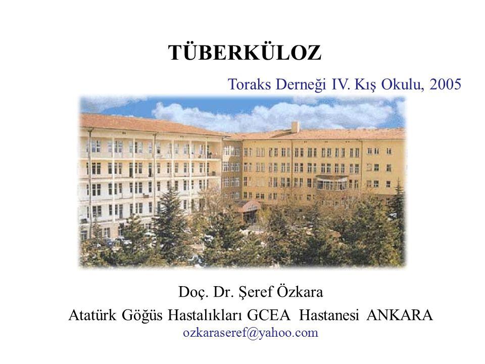 TÜBERKÜLOZ Doç. Dr. Şeref Özkara Atatürk Göğüs Hastalıkları GCEA Hastanesi ANKARA ozkaraseref@yahoo.com Toraks Derneği IV. Kış Okulu, 2005