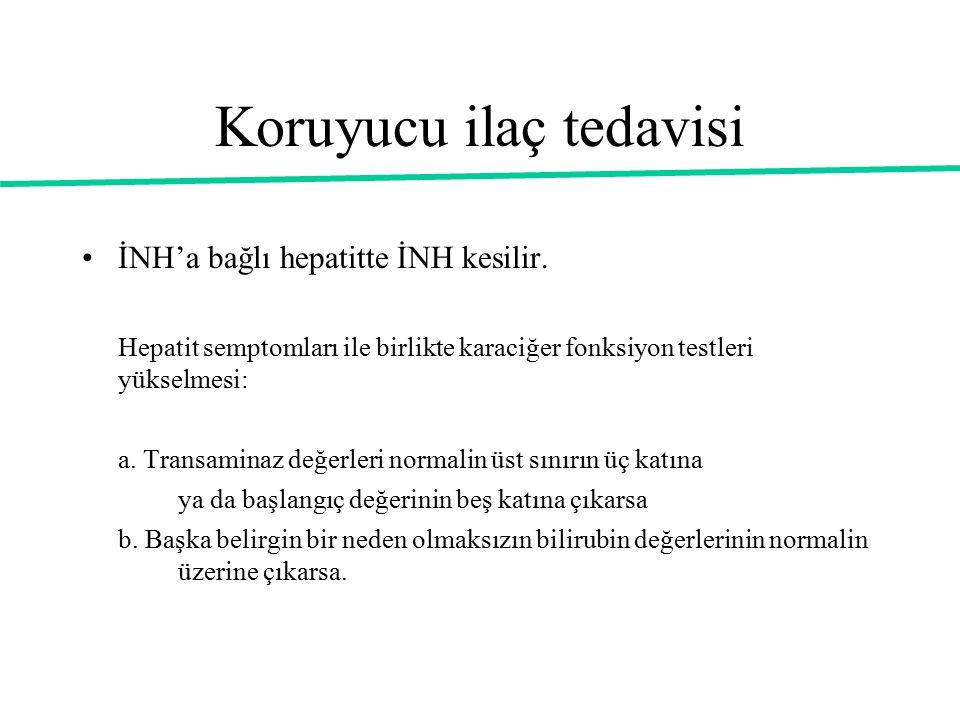 Koruyucu ilaç tedavisi İNH'a bağlı hepatitte İNH kesilir. Hepatit semptomları ile birlikte karaciğer fonksiyon testleri yükselmesi: a. Transaminaz değ