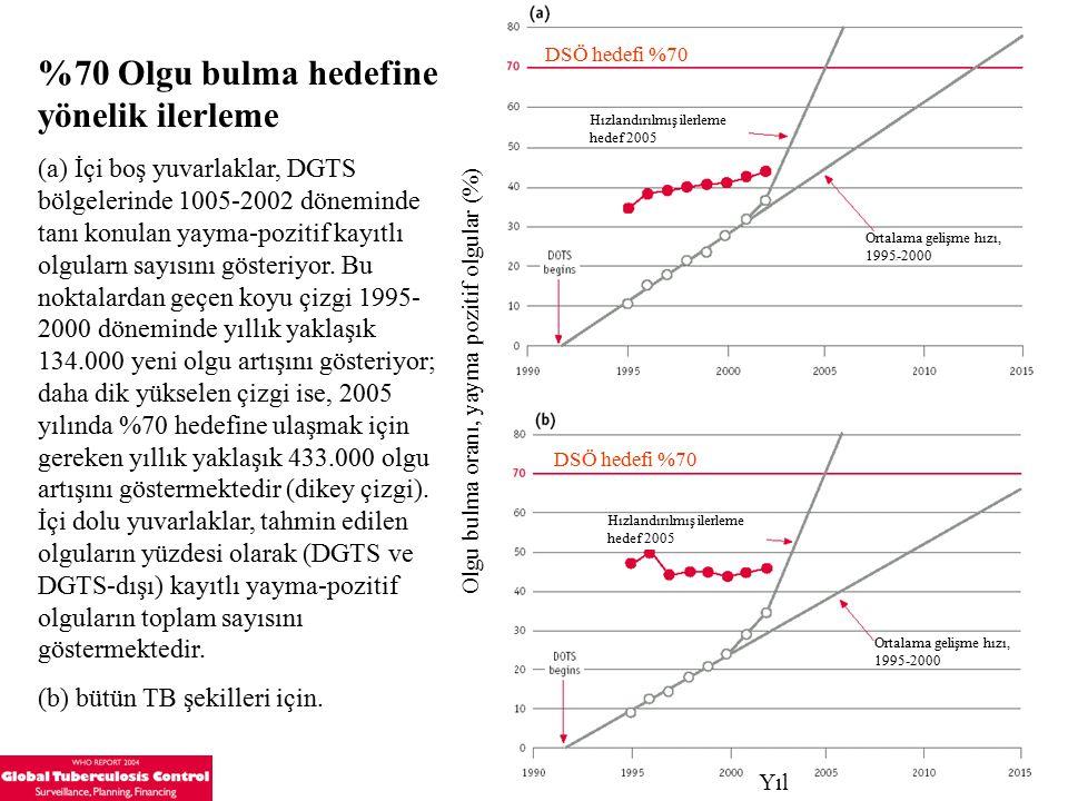%70 Olgu bulma hedefine yönelik ilerleme (a) İçi boş yuvarlaklar, DGTS bölgelerinde 1005-2002 döneminde tanı konulan yayma-pozitif kayıtlı olgularn sayısını gösteriyor.
