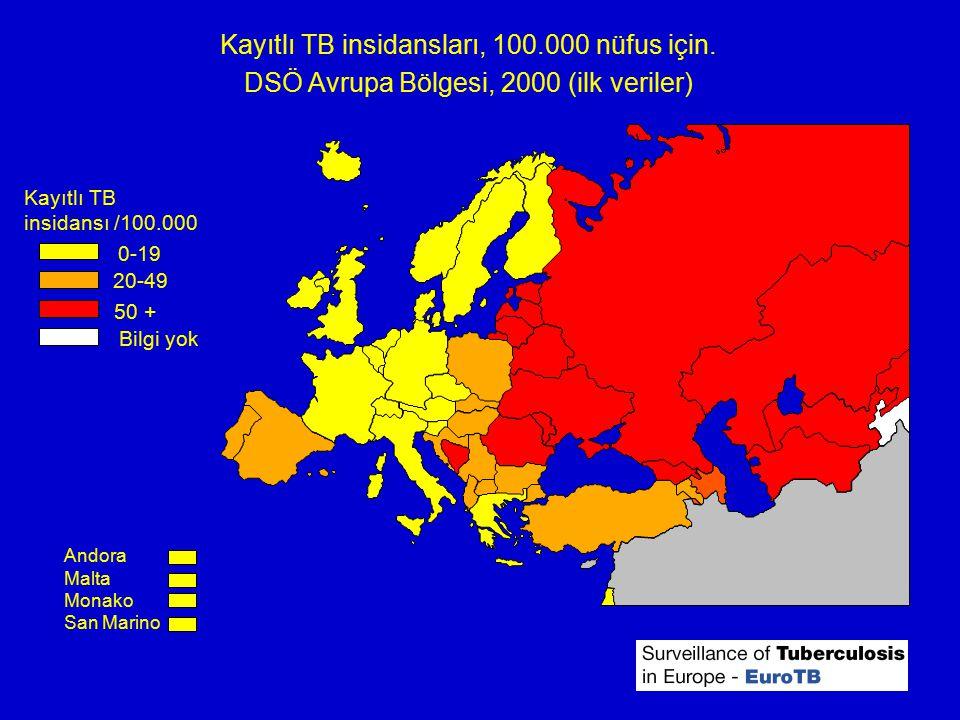 Kayıtlı TB insidansları, 100.000 nüfus için. DSÖ Avrupa Bölgesi, 2000 (ilk veriler) Andora Malta Monako San Marino Kayıtlı TB insidansı /100.000 20-49