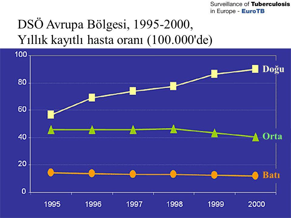 DSÖ Avrupa Bölgesi, 1995-2000, Yıllık kayıtlı hasta oranı (100.000'de) Doğu Orta Batı