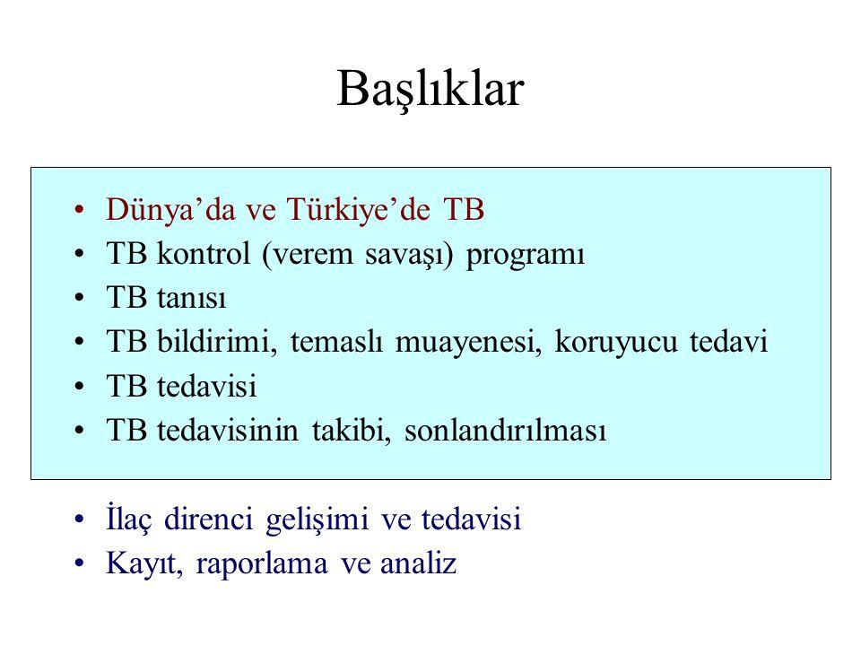 Başlıklar Dünya'da ve Türkiye'de TB TB kontrol (verem savaşı) programı TB tanısı TB bildirimi, temaslı muayenesi, koruyucu tedavi TB tedavisi TB tedavisinin takibi, sonlandırılması İlaç direnci gelişimi ve tedavisi Kayıt, raporlama ve analiz