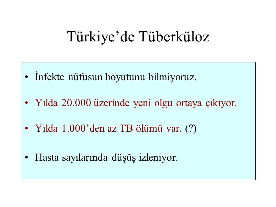 Türkiye'de Tüberküloz İnfekte nüfusun boyutunu bilmiyoruz. Yılda 20.000 üzerinde yeni olgu ortaya çıkıyor. Yılda 1.000'den az TB ölümü var. (?) Hasta