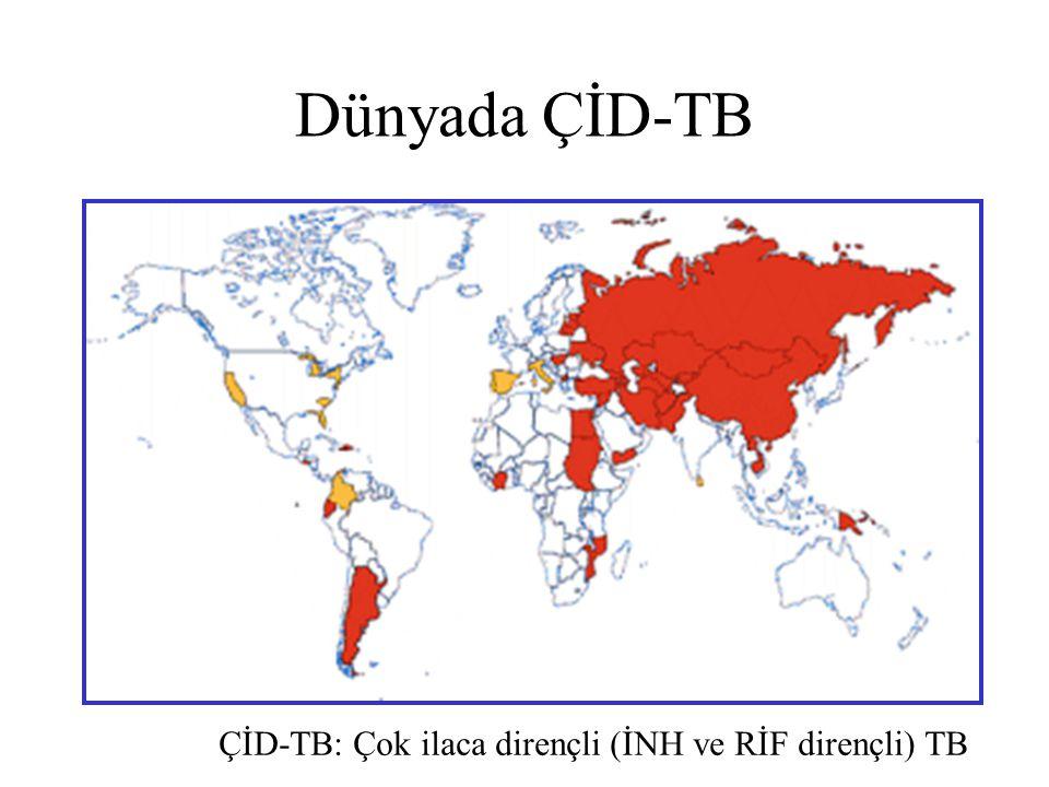 Dünyada ÇİD-TB ÇİD-TB: Çok ilaca dirençli (İNH ve RİF dirençli) TB