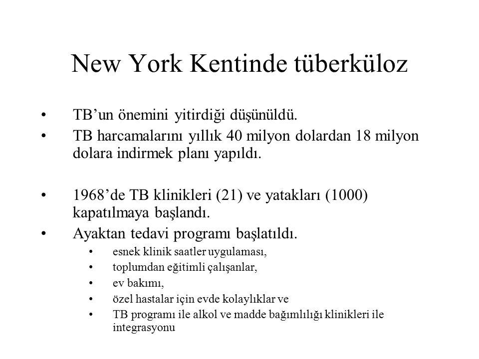 New York Kentinde tüberküloz TB'un önemini yitirdiği düşünüldü. TB harcamalarını yıllık 40 milyon dolardan 18 milyon dolara indirmek planı yapıldı. 19