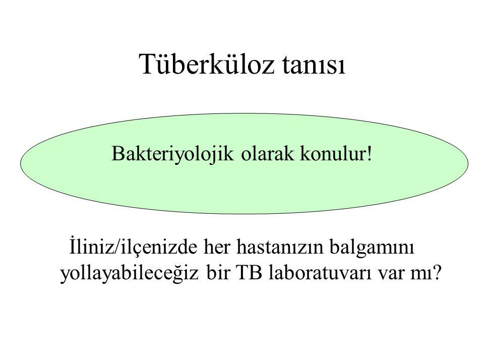 Tüberküloz tanısı Bakteriyolojik olarak konulur! İliniz/ilçenizde her hastanızın balgamını yollayabileceğiz bir TB laboratuvarı var mı?