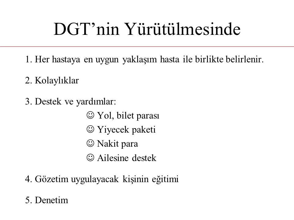 DGT'nin Yürütülmesinde 1. Her hastaya en uygun yaklaşım hasta ile birlikte belirlenir. 2. Kolaylıklar 3. Destek ve yardımlar: Yol, bilet parası Yiyece