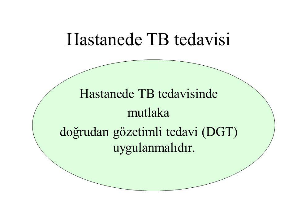 Hastanede TB tedavisi Hastanede TB tedavisinde mutlaka doğrudan gözetimli tedavi (DGT) uygulanmalıdır.