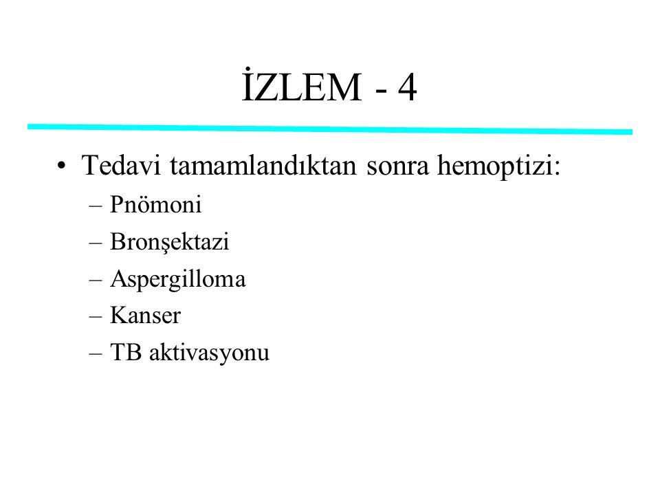 İZLEM - 4 Tedavi tamamlandıktan sonra hemoptizi: –Pnömoni –Bronşektazi –Aspergilloma –Kanser –TB aktivasyonu