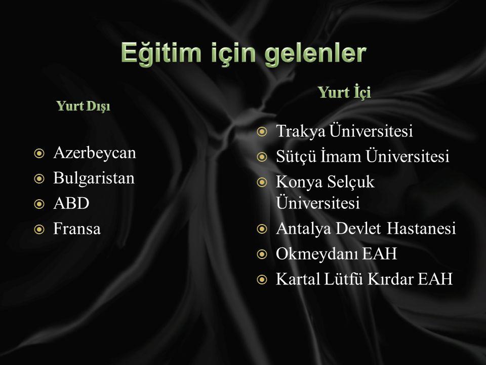  Azerbeycan  Bulgaristan  ABD  Fransa  Trakya Üniversitesi  Sütçü İmam Üniversitesi  Konya Selçuk Üniversitesi  Antalya Devlet Hastanesi  Okmeydanı EAH  Kartal Lütfü Kırdar EAH