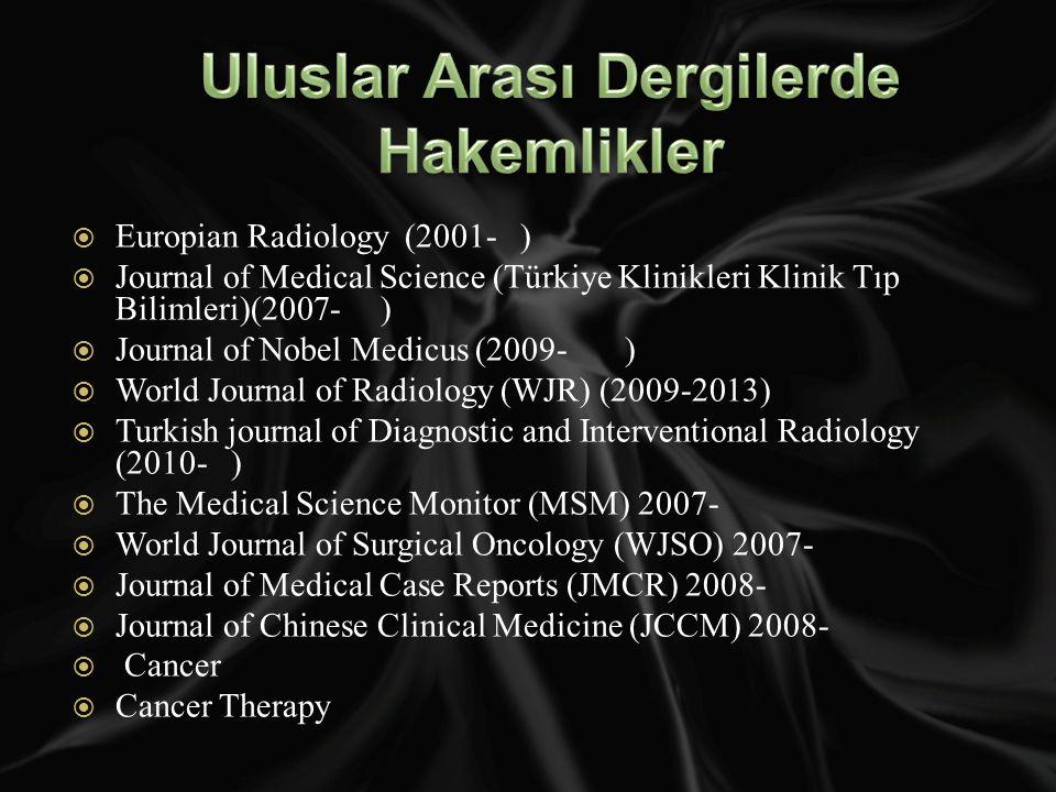 Europian Radiology (2001- )  Journal of Medical Science (Türkiye Klinikleri Klinik Tıp Bilimleri)(2007- )  Journal of Nobel Medicus (2009- )  World Journal of Radiology (WJR) (2009-2013)  Turkish journal of Diagnostic and Interventional Radiology (2010- )  The Medical Science Monitor (MSM) 2007-  World Journal of Surgical Oncology (WJSO) 2007-  Journal of Medical Case Reports (JMCR) 2008-  Journal of Chinese Clinical Medicine (JCCM) 2008-  Cancer  Cancer Therapy