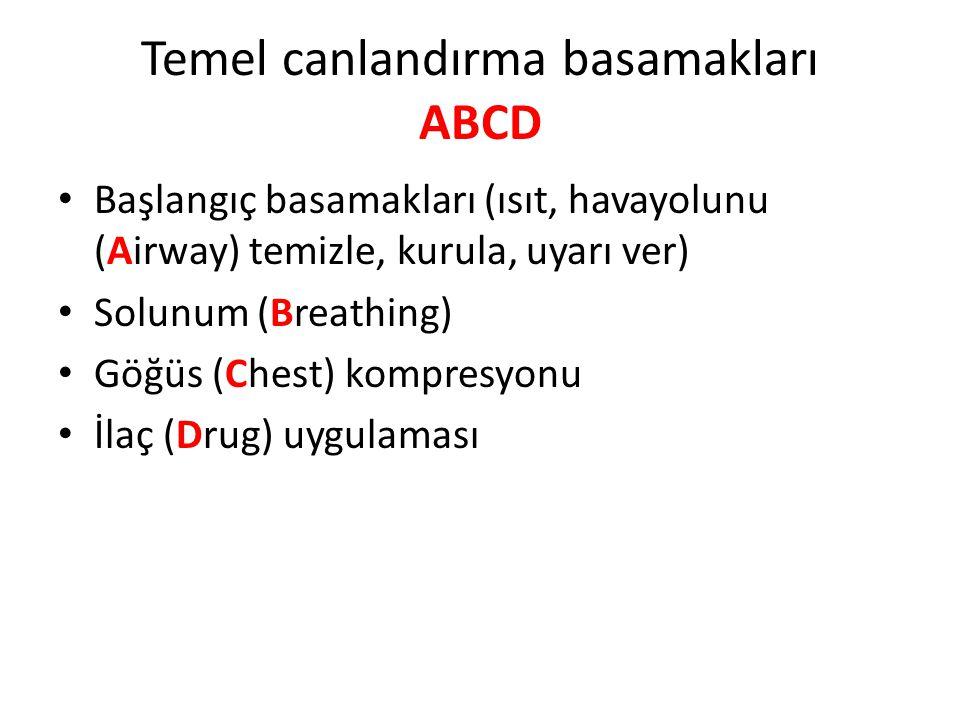 Temel canlandırma basamakları ABCD Başlangıç basamakları (ısıt, havayolunu (Airway) temizle, kurula, uyarı ver) Solunum (Breathing) Göğüs (Chest) komp