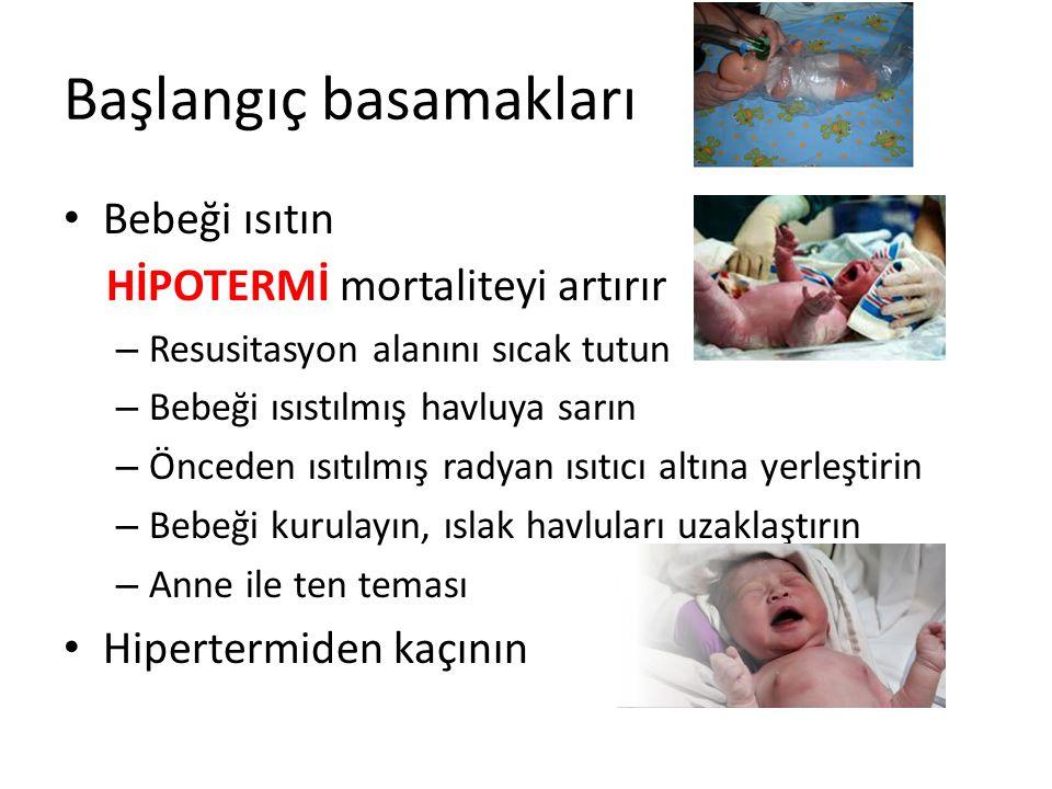 Başlangıç basamakları Bebeği ısıtın HİPOTERMİ mortaliteyi artırır – Resusitasyon alanını sıcak tutun – Bebeği ısıstılmış havluya sarın – Önceden ısıtı