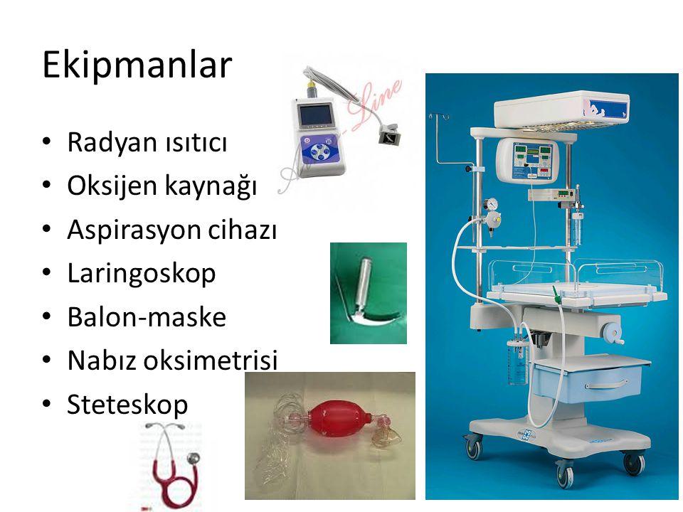 Ekipmanlar Radyan ısıtıcı Oksijen kaynağı Aspirasyon cihazı Laringoskop Balon-maske Nabız oksimetrisi Steteskop