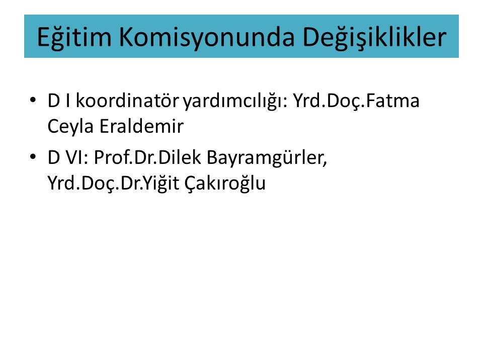 Eğitim Komisyonunda Değişiklikler D I koordinatör yardımcılığı: Yrd.Doç.Fatma Ceyla Eraldemir D VI: Prof.Dr.Dilek Bayramgürler, Yrd.Doç.Dr.Yiğit Çakıroğlu