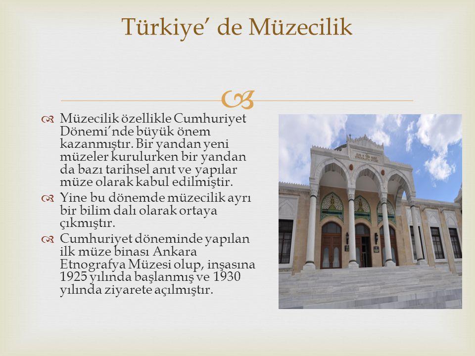   Genel olarak müzeleri; arkeoloji, etnografya, tarih, bilim-teknik, askeri, güzel sanatlar ve açık hava müzeleri gibi türlere ayırmak mümkündür.
