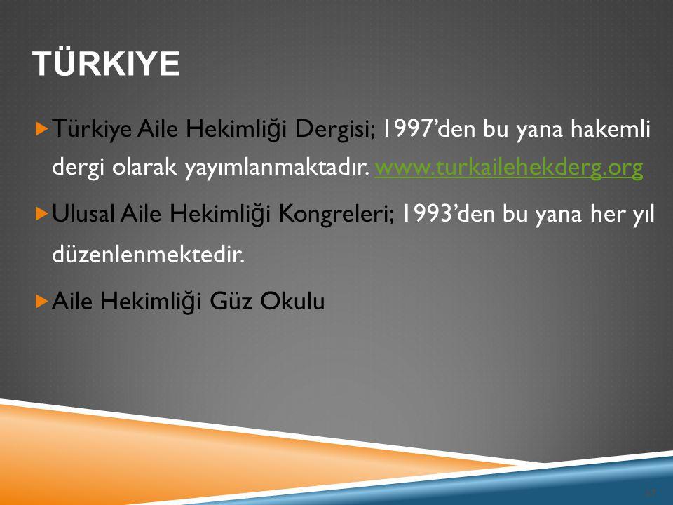 37  Türkiye Aile Hekimli ğ i Dergisi; 1997'den bu yana hakemli dergi olarak yayımlanmaktadır. www.turkailehekderg.orgwww.turkailehekderg.org  Ulusal