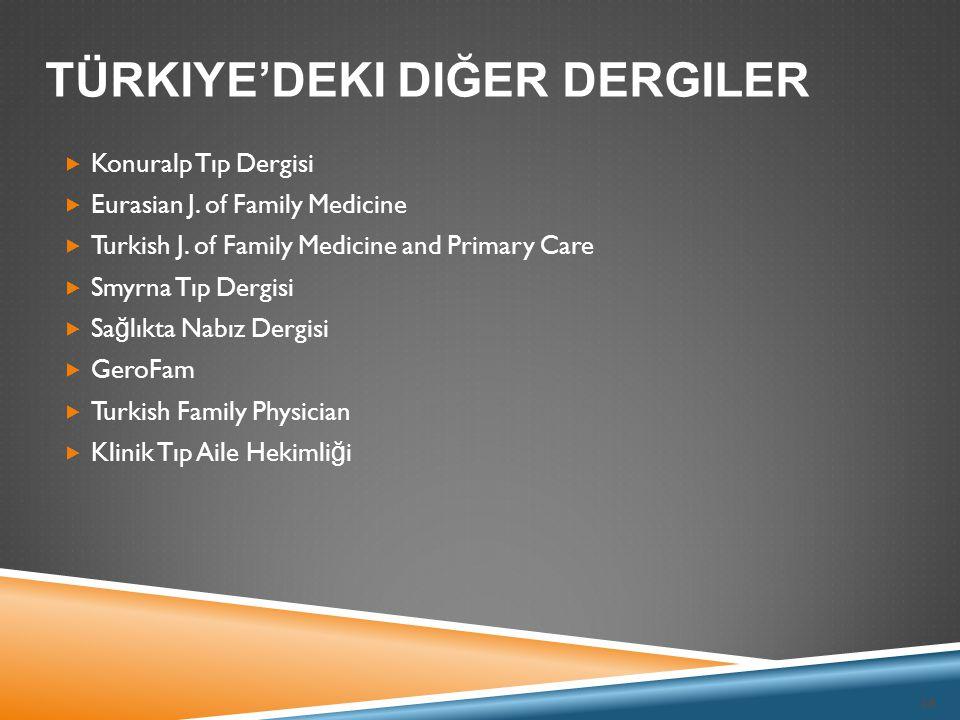  Konuralp Tıp Dergisi  Eurasian J. of Family Medicine  Turkish J. of Family Medicine and Primary Care  Smyrna Tıp Dergisi  Sa ğ lıkta Nabız Dergi