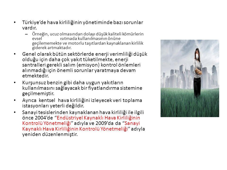 Türkiye'de hava kirliliğinin yönetiminde bazı sorunlar vardır. – Örneğin, ucuz olmasından dolayı düşük kaliteli kömürlerin evsel ısıtmada kullanılması