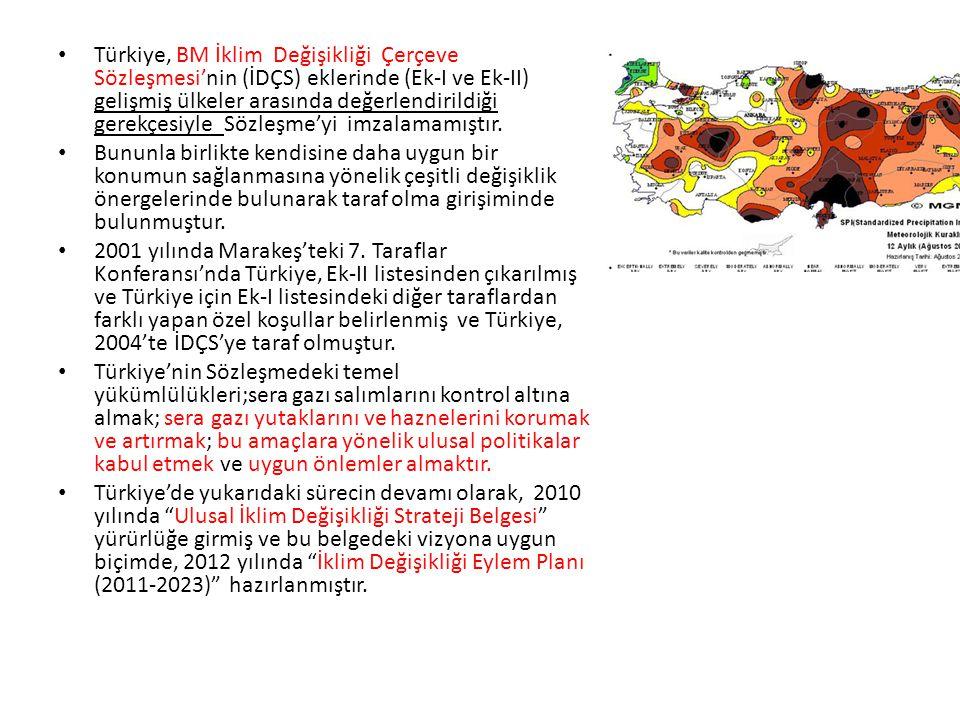Türkiye, BM İklim Değişikliği Çerçeve Sözleşmesi'nin (İDÇS) eklerinde (Ek-I ve Ek-II) gelişmiş ülkeler arasında değerlendirildiği gerekçesiyle Sözleşm