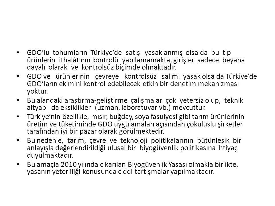 GDO'lu tohumların Türkiye'de satışı yasaklanmış olsa da bu tip ürünlerin ithalâtının kontrolü yapılamamakta, girişler sadece beyana dayalı olarak ve k