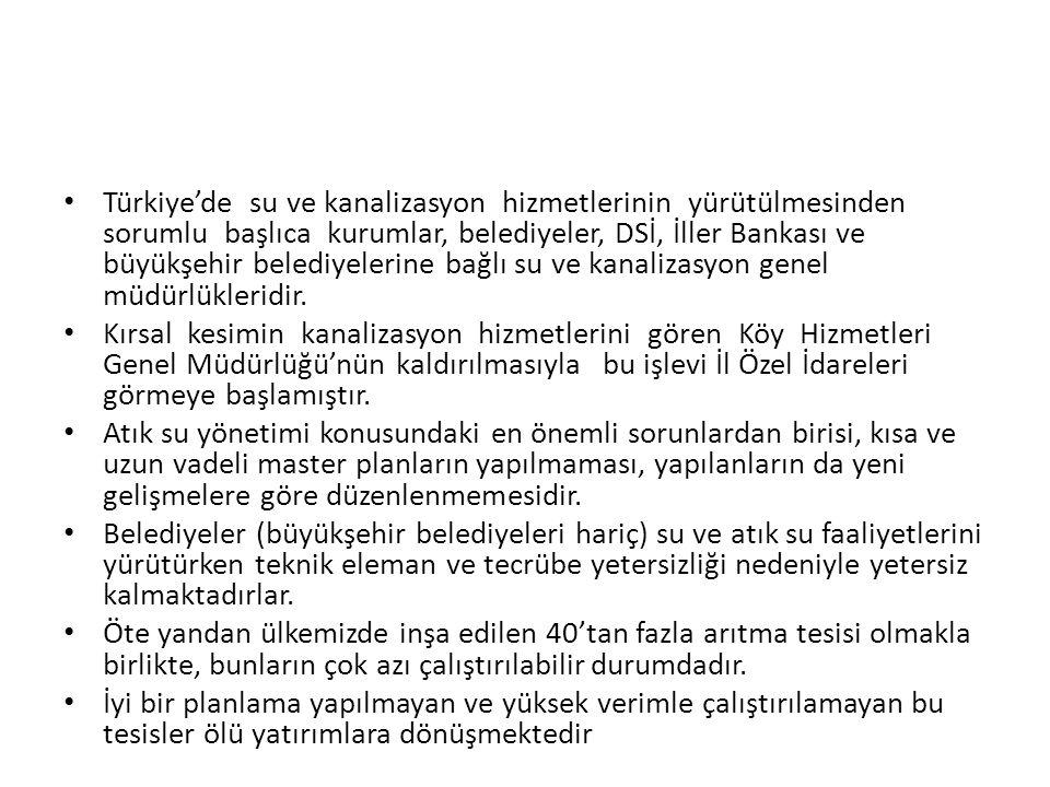 Türkiye'de su ve kanalizasyon hizmetlerinin yürütülmesinden sorumlu başlıca kurumlar, belediyeler, DSİ, İller Bankası ve büyükşehir belediyelerine bağ