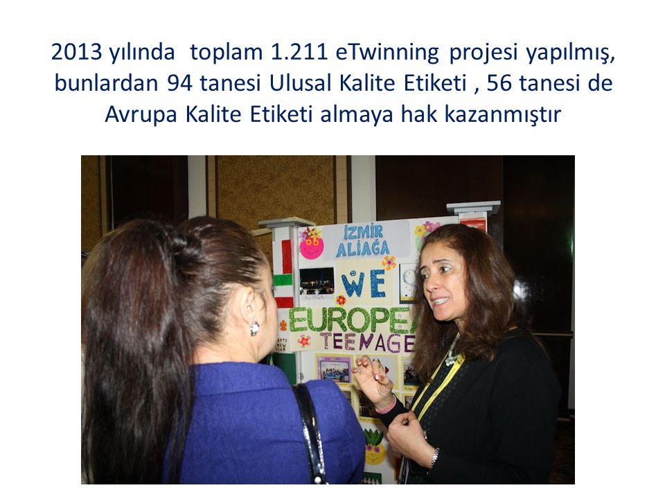 2013 yılında toplam 1.211 eTwinning projesi yapılmış, bunlardan 94 tanesi Ulusal Kalite Etiketi, 56 tanesi de Avrupa Kalite Etiketi almaya hak kazanmıştır