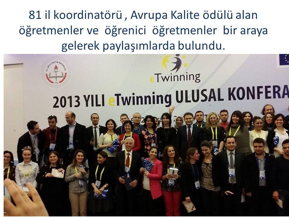 81 il koordinatörü, Avrupa Kalite ödülü alan öğretmenler ve öğrenici öğretmenler bir araya gelerek paylaşımlarda bulundu.