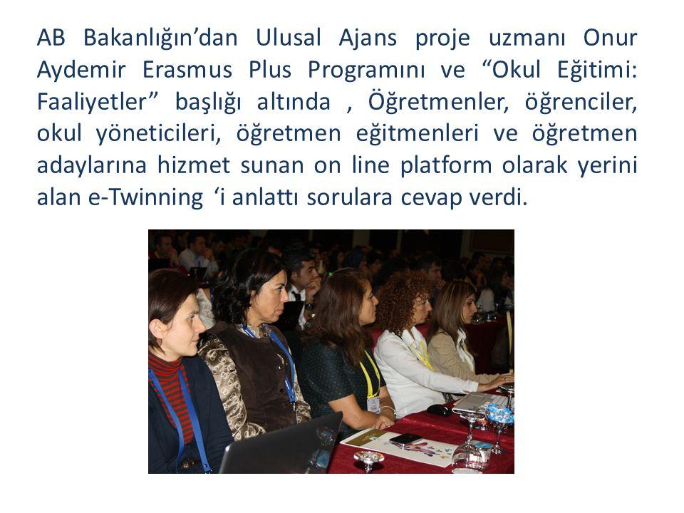 AB Bakanlığın'dan Ulusal Ajans proje uzmanı Onur Aydemir Erasmus Plus Programını ve Okul Eğitimi: Faaliyetler başlığı altında, Öğretmenler, öğrenciler, okul yöneticileri, öğretmen eğitmenleri ve öğretmen adaylarına hizmet sunan on line platform olarak yerini alan e-Twinning 'i anlattı sorulara cevap verdi.