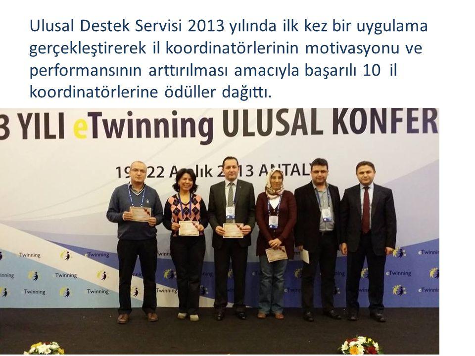 Ulusal Destek Servisi 2013 yılında ilk kez bir uygulama gerçekleştirerek il koordinatörlerinin motivasyonu ve performansının arttırılması amacıyla başarılı 10 il koordinatörlerine ödüller dağıttı.
