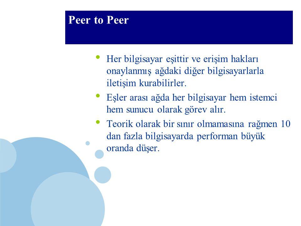 SDÜ KMYO Peer to Peer Her bilgisayar eşittir ve erişim hakları onaylanmış ağdaki diğer bilgisayarlarla iletişim kurabilirler. Eşler arası ağda her bil