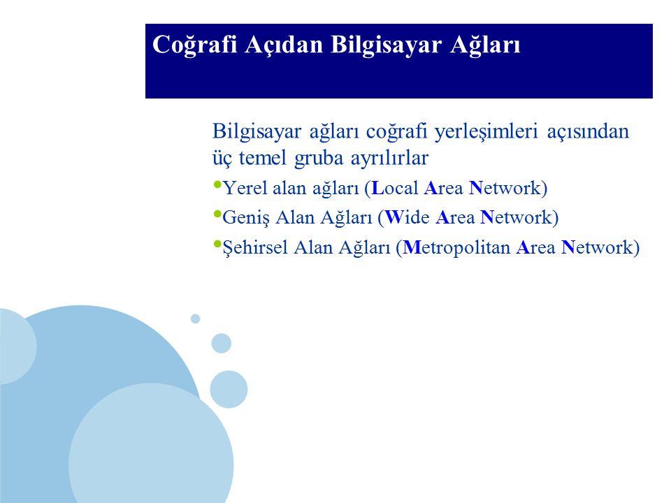 SDÜ KMYO Coğrafi Açıdan Bilgisayar Ağları Bilgisayar ağları coğrafi yerleşimleri açısından üç temel gruba ayrılırlar Yerel alan ağları (Local Area Net