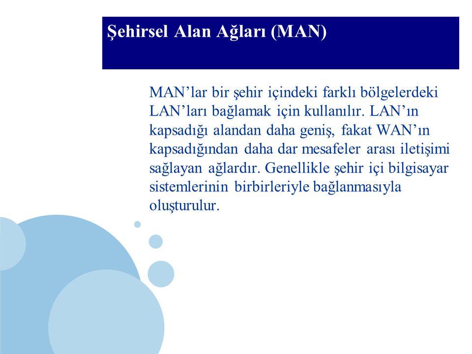 SDÜ KMYO Şehirsel Alan Ağları (MAN) MAN'lar bir şehir içindeki farklı bölgelerdeki LAN'ları bağlamak için kullanılır. LAN'ın kapsadığı alandan daha ge