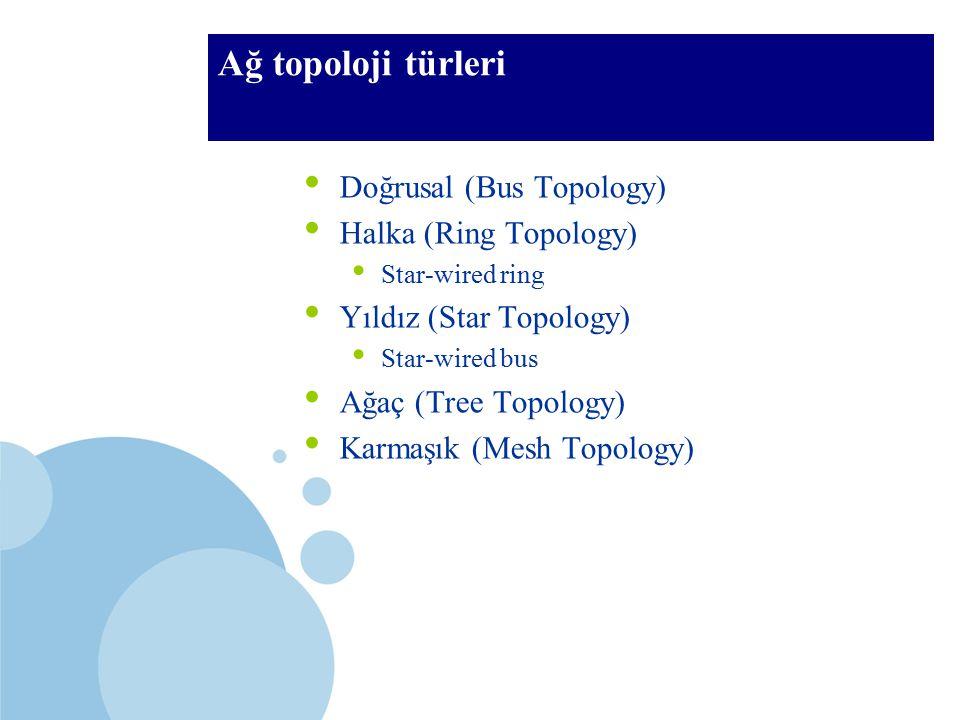 SDÜ KMYO Ağ topoloji türleri Doğrusal (Bus Topology) Halka (Ring Topology) Star-wired ring Yıldız (Star Topology) Star-wired bus Ağaç (Tree Topology)
