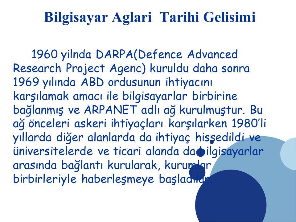 SDÜ KMYO Bilgisayar Aglari Tarihi Gelisimi 1960 yilnda DARPA(Defence Advanced Research Project Agenc) kuruldu daha sonra 1969 yılında ABD ordusunun ih