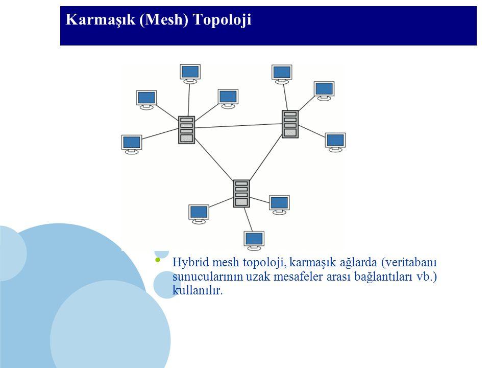 SDÜ KMYO Karmaşık (Mesh) Topoloji Hybrid mesh topoloji, karmaşık ağlarda (veritabanı sunucularının uzak mesafeler arası bağlantıları vb.) kullanılır.