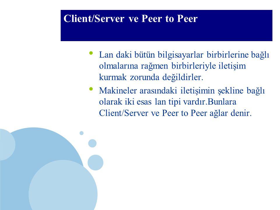 SDÜ KMYO Client/Server ve Peer to Peer Lan daki bütün bilgisayarlar birbirlerine bağlı olmalarına rağmen birbirleriyle iletişim kurmak zorunda değildi