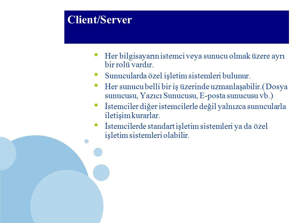 SDÜ KMYO Client/Server Her bilgisayarın istemci veya sunucu olmak üzere ayrı bir rolü vardır. Sunucularda özel işletim sistemleri bulunur. Her sunucu