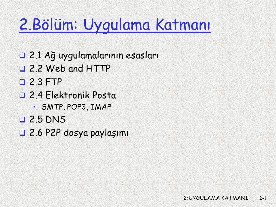 2:UYGULAMA KATMANI2-2 2.Bölüm: Uygulama Katmanı Amaç:  Ağ uygulama protokollarının kavramsal ve işletim yönleri iletim-katmanı servis modelleri İstemci-sunucu Eşten-eşe (P2P)  Yaygın kullanılan protokoller HTTP FTP SMTP / POP3 / IMAP DNS
