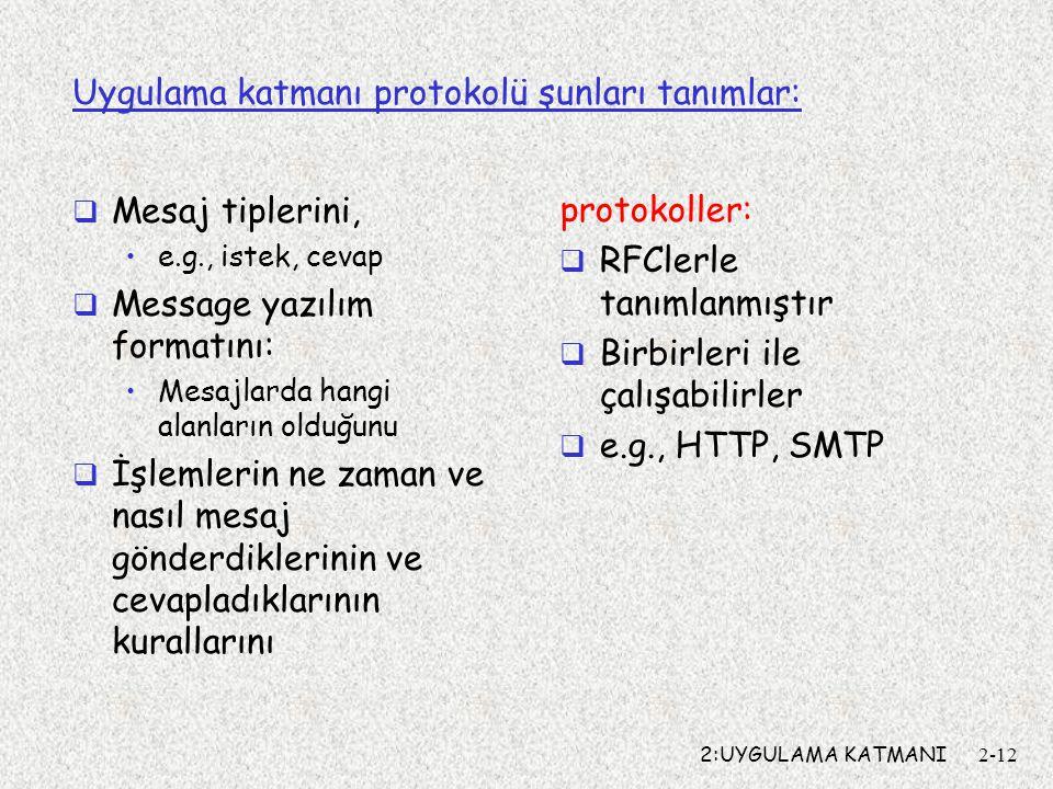 2:UYGULAMA KATMANI2-12 Uygulama katmanı protokolü şunları tanımlar:  Mesaj tiplerini, e.g., istek, cevap  Message yazılım formatını: Mesajlarda hangi alanların olduğunu  İşlemlerin ne zaman ve nasıl mesaj gönderdiklerinin ve cevapladıklarının kurallarını protokoller:  RFClerle tanımlanmıştır  Birbirleri ile çalışabilirler  e.g., HTTP, SMTP