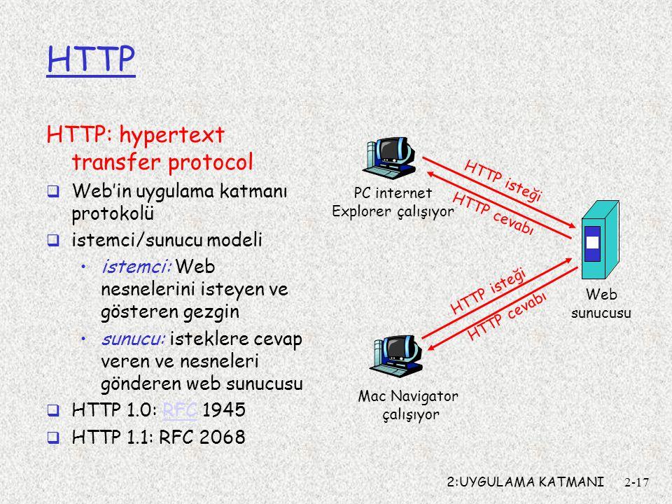 2:UYGULAMA KATMANI2-17 HTTP HTTP: hypertext transfer protocol  Web'in uygulama katmanı protokolü  istemci/sunucu modeli istemci: Web nesnelerini isteyen ve gösteren gezgin sunucu: isteklere cevap veren ve nesneleri gönderen web sunucusu  HTTP 1.0: RFC 1945RFC  HTTP 1.1: RFC 2068 PC internet Explorer çalışıyor Web sunucusu Mac Navigator çalışıyor HTTP isteği HTTP cevabı