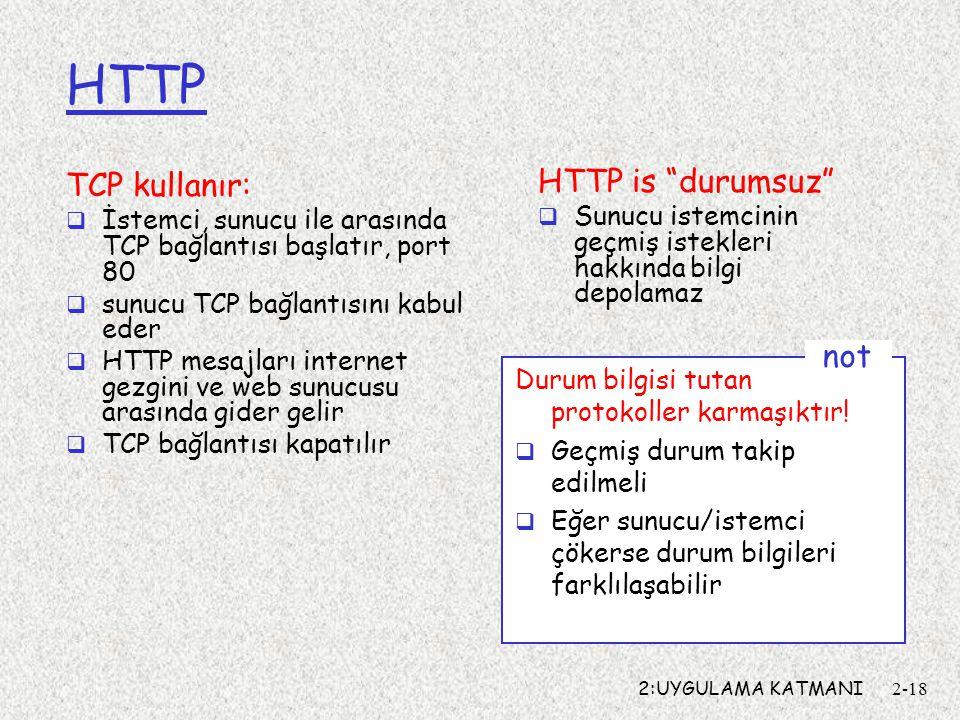 2:UYGULAMA KATMANI2-18 HTTP TCP kullanır:  İstemci, sunucu ile arasında TCP bağlantısı başlatır, port 80  sunucu TCP bağlantısını kabul eder  HTTP mesajları internet gezgini ve web sunucusu arasında gider gelir  TCP bağlantısı kapatılır HTTP is durumsuz  Sunucu istemcinin geçmiş istekleri hakkında bilgi depolamaz Durum bilgisi tutan protokoller karmaşıktır.