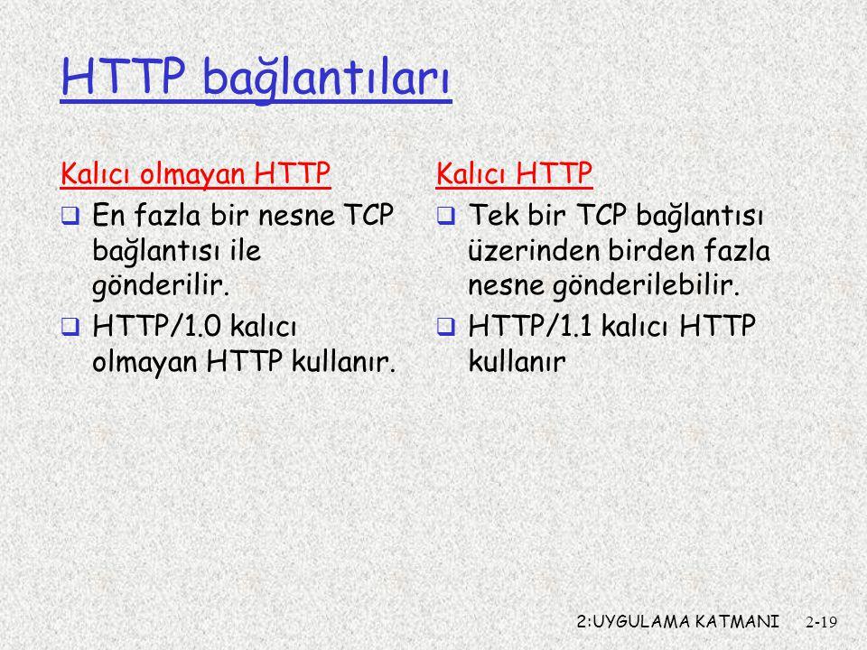 2:UYGULAMA KATMANI2-19 HTTP bağlantıları Kalıcı olmayan HTTP  En fazla bir nesne TCP bağlantısı ile gönderilir.
